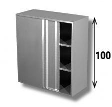 Pensile In Acciaio Inox AISI 304 Porte Scorrevoli Con 2 Ripiani Altezza 100 cm