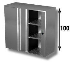 Pensile Riscaldato In Acciaio Inox AISI 304 Porte Scorrevoli Con 2 Ripiani Altezza 100 cm