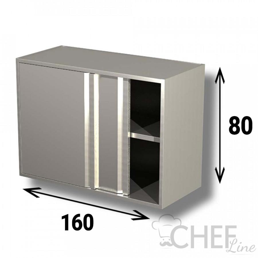 Pensile In Acciaio Inox AISI 304 Porte Scorrevoli Con 1 Ripiano 160x40xh80 cm