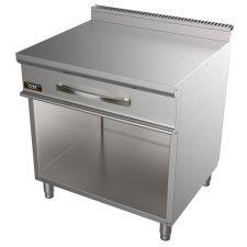 Piano Inox Neutro Doppio 80 Cm Con Cassetto Per Cucina Professionale Profondità 70 cm