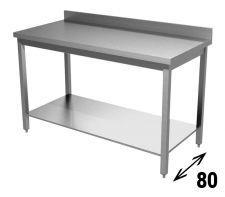 Tavolo Inox AISI 304 Con Ripiano Inferiore E Alzatina Profondità 80 cm