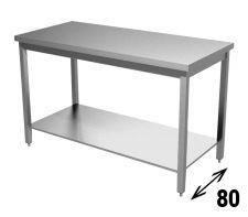 Tavolo Inox AISI 304 Con Ripiano Inferiore Profondità 80 cm