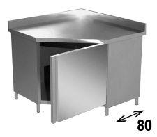 Tavolo Armadiato INOX Aisi 304 Ad Angolo Con Alzatina Profondità 80 cm