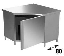Tavolo Armadiato INOX Aisi 304 Ad Angolo Profondità 80 cm