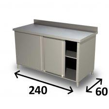 Tavolo Armadiato INOX AISI 304 Con Porte Scorrevoli, Ripiano e Alzatina 240x60 cm