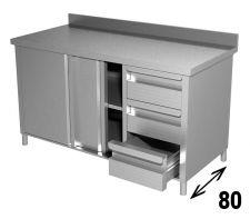 Tavolo Armadiato INOX AISI 304 Con Porte, Cassetti e Alzatina Profondità 80 cm