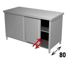 Tavolo Armadiato INOX AISI 304 Con Porte Scorrevoli Su 2 Lati Profondità 80 cm