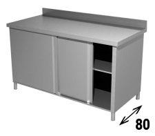 Tavolo Armadiato INOX AISI 304 Con Ripiano, Alzatina e Porte Scorrevoli Profondità 80 cm