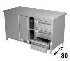 Tavolo Armadiato INOX AISI 304 Con Porte e Cassetti Profondità 80 cm