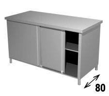 Tavolo Armadiato  INOX AISI 304 Con Ripiano e Porte Scorrevoli Profondità 80 cm