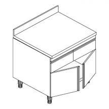 Tavolo Armadiato Neutro Con Cassetti, Alzatina e Porte a Battente P 70 cm
