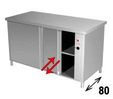 Tavolo Armadiato Riscaldato INOX AISI 304 Porte Su 2 Lati Profondità 80 Cm