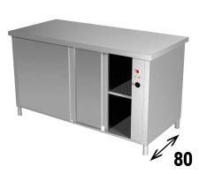 Tavolo Armadiato Riscaldato INOX AISI 304 Profondità 80 Cm