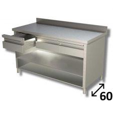 Tavolo Inox Linea TOP a Giorno Con Ripiano, Cassetti e Alzatina Profondità 60 cm