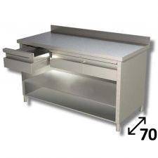 Tavolo Inox Linea TOP a Giorno Con Ripiano, Cassetti e Alzatina Profondità 70 cm