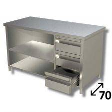Tavolo Inox Linea TOP a Giorno Con Ripiano e 3 Cassetti DX Profondità 70 cm