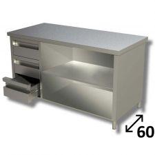 Tavolo Inox Linea TOP a Giorno Con Ripiano e 3 Cassetti SX Profondità 60 cm