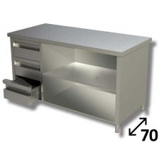 Tavolo Inox Linea TOP a Giorno Con Ripiano e 3 Cassetti SX Profondità 70 cm
