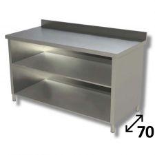 Tavolo Inox Linea TOP a Giorno Con Ripiano e Alzatina Profondità 70 cm
