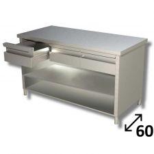 Tavolo Inox Linea TOP a Giorno Con Ripiano e Cassetti Profondità 60 cm