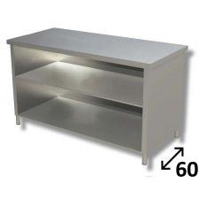 Tavolo Inox Linea TOP a Giorno Con Ripiano Profondità 60 cm