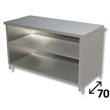 Tavolo Inox Linea TOP a Giorno Con Ripiano Profondità 70 cm