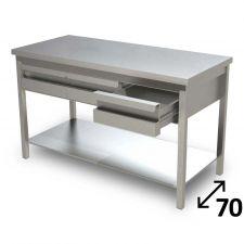 Tavolo Inox Linea TOP Con Ripiano Inferiore e Cassetti Profondità 70