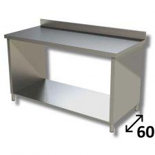 Tavolo Inox Linea TOP Su Fianchi Con Ripiano Inferiore e Alzatina Profondità 60 cm