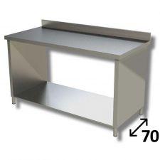 Tavolo Inox Linea TOP Su Fianchi Con Ripiano Inferiore e Alzatina Profondità 70 cm