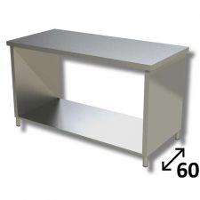 Tavolo Inox Linea TOP Su Fianchi Con Ripiano Inferiore Profondità 60 cm