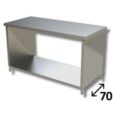 Tavolo Inox Linea TOP Su Fianchi Con Ripiano Inferiore Profondità 70 cm