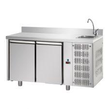 Tavolo Refrigerato 2 Porte Con Piano Alzatina 10 Cm e Lavello Pr. 70 cm