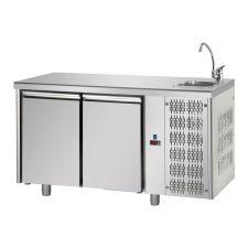 Tavolo Refrigerato 2 Porte Con Piano e Lavello Pr. 70 cm