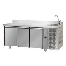 Tavolo Refrigerato 3 Porte Con Piano Alzatina 10 Cm e Lavello Pr. 70 cm