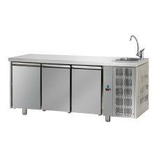 Tavolo Refrigerato 3 Porte Con Piano e Lavello Pr. 70 cm