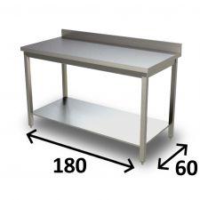 Tavolo Inox AISI 304 Con Ripiano Inferiore 180x60 cm E Alzatina