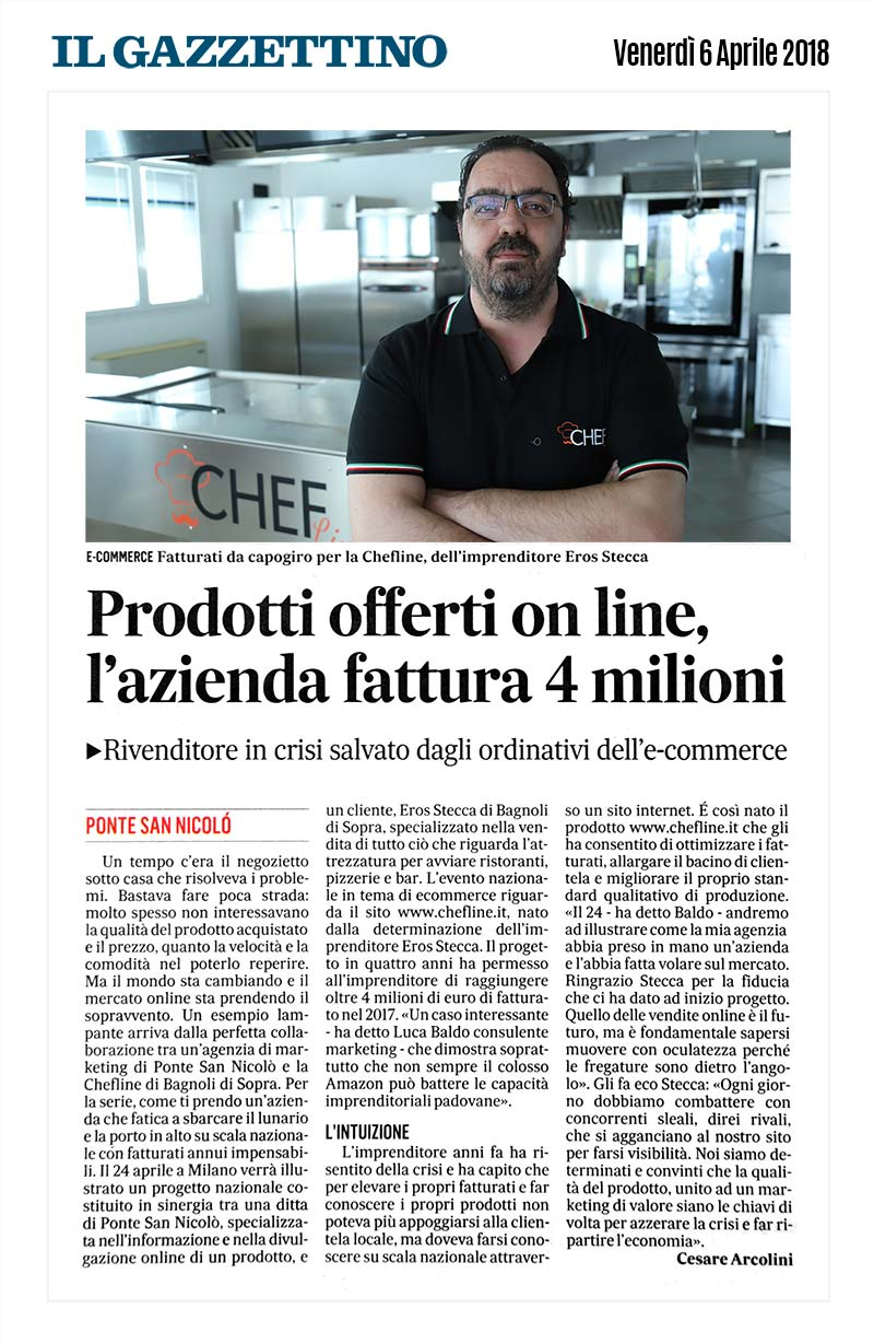 Eros Stecca della Chefline.it nel Gazzettino di Padova, Venerdì 6 aprile 2018