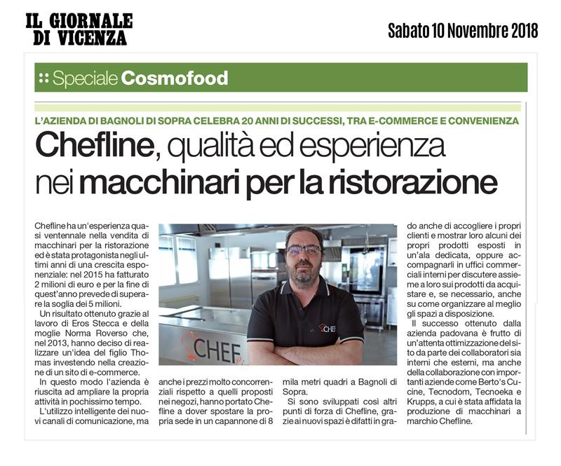 Eros Stecca della Chefline.it nel Giornale di Vicenza