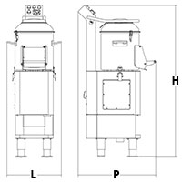 Ingombri macchina pelapatate/pulisci cozze PPR102VC/P